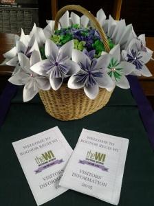 Basket of origami flowers