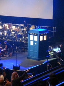 The TARDIS on stage at Wembley Arena