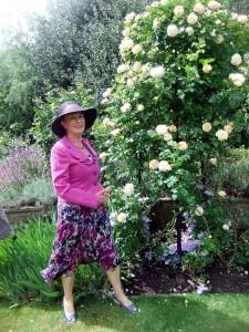 Jan admiring the roses