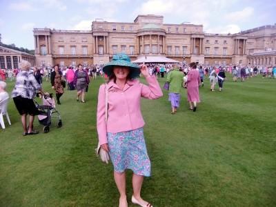 Sue Austin in the garden of Buckingham Palace