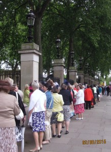 A colourful queue outside the Palace railings
