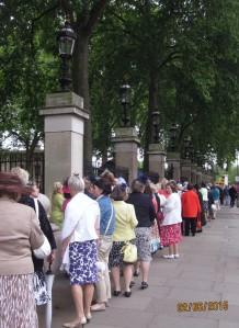 A colourful queue outside the Palace railings