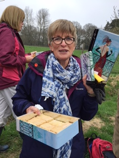 Jan with her cakes at Ardingly walk